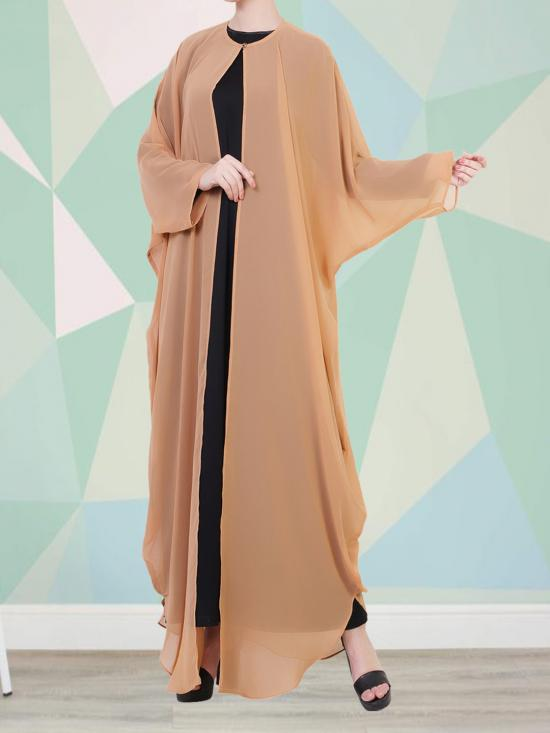 Nida Sattin And Georgette Set Of Inner Abaya, An Upper Georgette Cape And A Complementary Hijab In Black and Sand