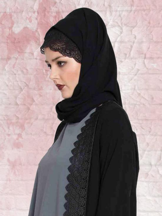 Set of Three Stole Super Fine Georgette Hijabs in Black, Navy Blue and Mauve