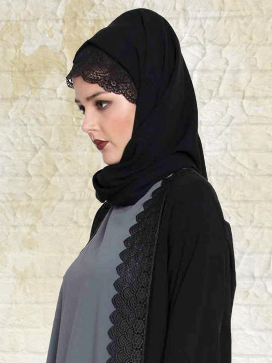 Set of Three Stole Super Fine Georgette Hijabs in Black, Navy Blue and Wine
