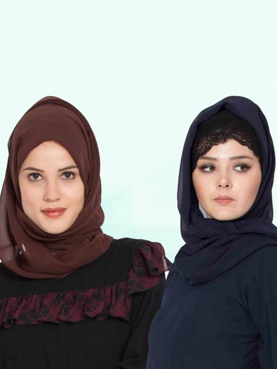 Super Fine Georgette Set Of Two Stole Hijabs In Navy Blue And Brown