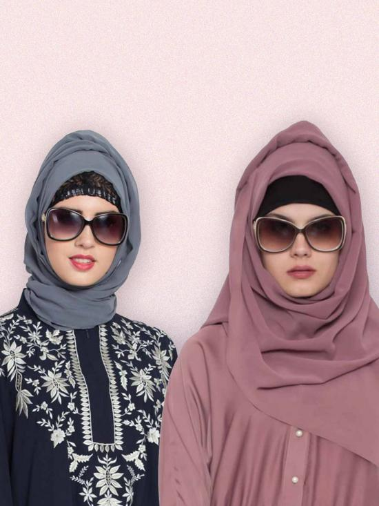 Set Of Two Stole Super Fine Georgette Hijabs In Grey And Mauve