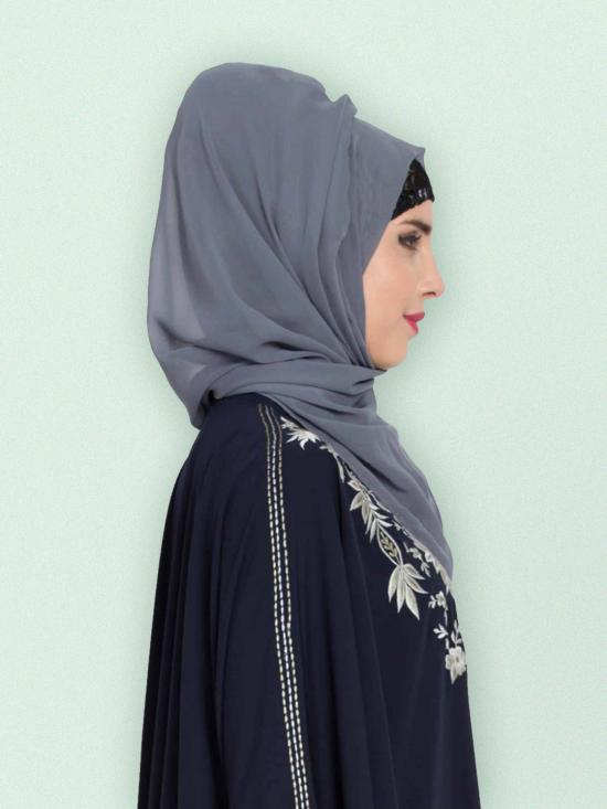 Set of Two Stole Super Fine Georgette Hijabs in Grey and Bottle Green