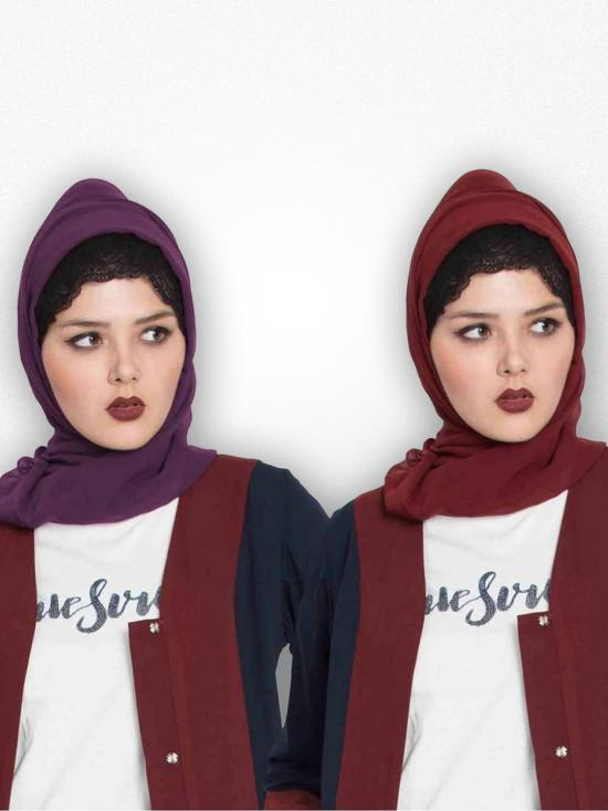 Super Fine Georgette Set Of Two Stole Hijabs In Maroon And Purple