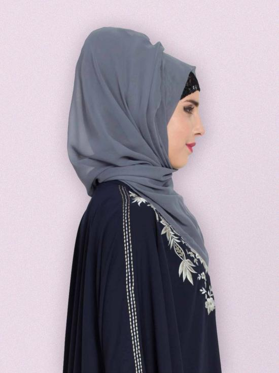 Set of Two Stole Super Fine Georgette Hijabs in Grey and Purple