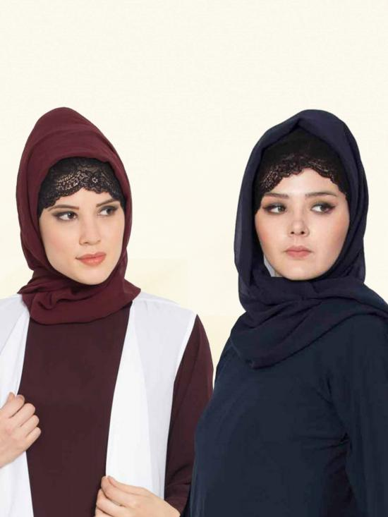 Super Fine Georgette Set Of Two Stole Hijabs In Navy Blue And Wine