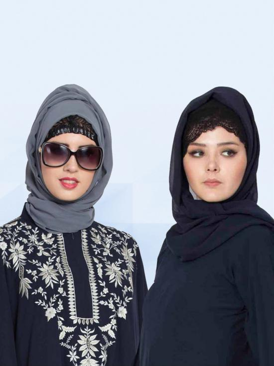 Super Fine Georgette Set Of Two Stole Hijabs In Navy Blue And Grey