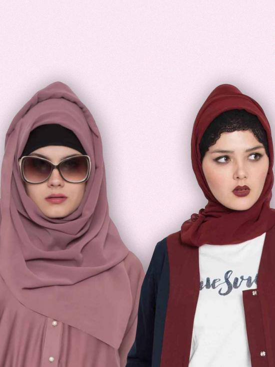 Super Fine Georgette Set Of Two Stole Hijabs In Maroon And Mauve