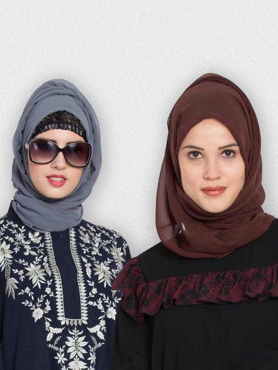 Super Fine Georgette Set Of Two Stole Hijabs In Grey And Brown