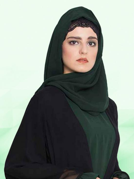 Super Fine Georgette Set of Two Stole Hijabs in Navy Blue and Bottle Green