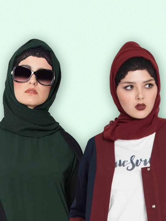 Super Fine Georgette Set Of Two Stole Hijabs In Maroon And Bottle Green