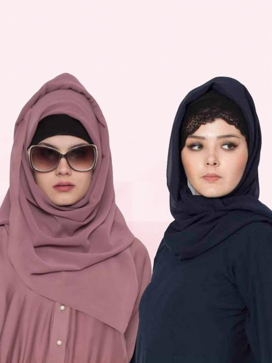 Set Of Two Stole Super Fine Georgette Hijabs In Navy Blue And Mauve