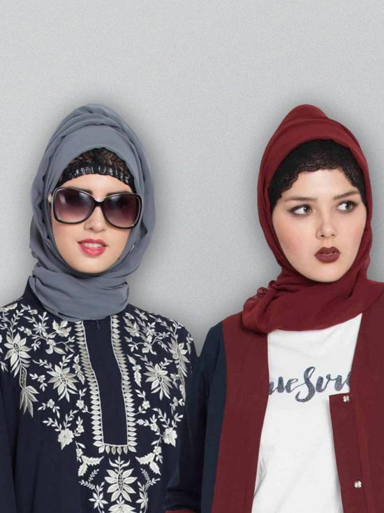 Super Fine Georgette Set Of Two Stole Hijabs In Grey And Maroon