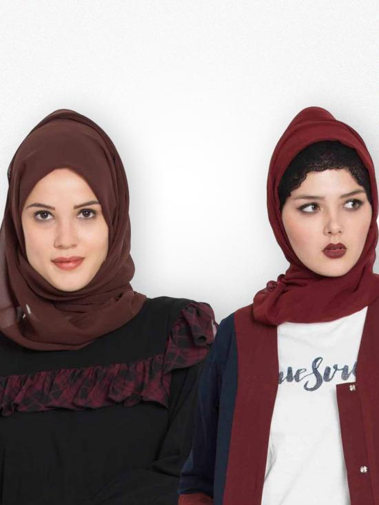Super Fine Georgette Set Of Two Stole Hijabs In Maroon And Brown