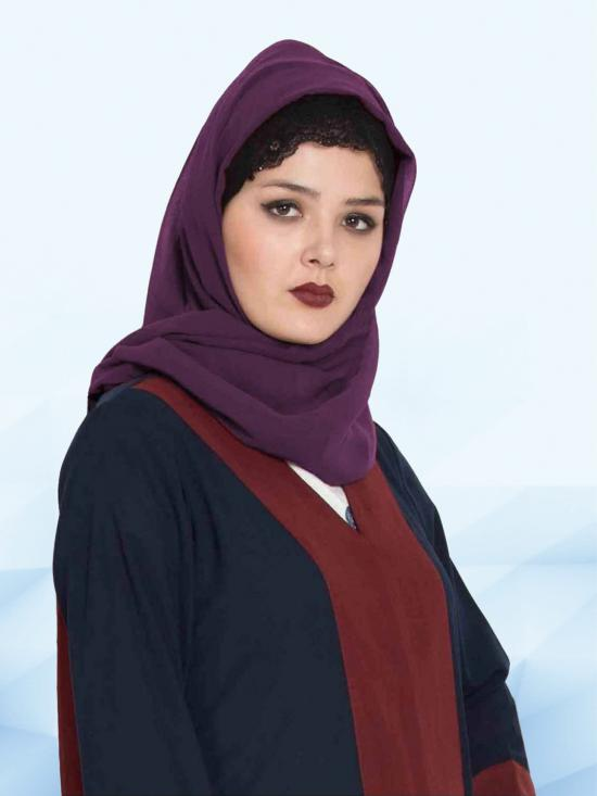 Set of Two Stole Super Fine Georgette Hijabs in Navy Blue and Purple
