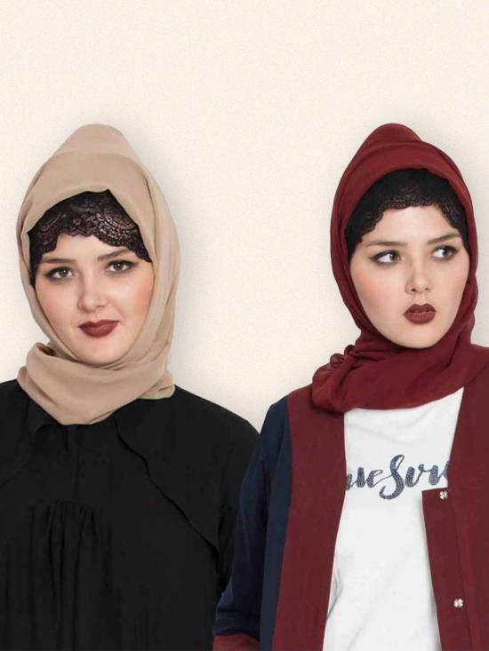Super Fine Georgette Set Of Two Stole Hijabs In Maroon And Beige