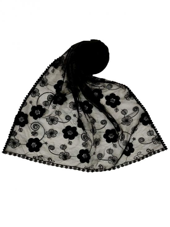 Premium Cotton Digital Flower Printed Stole In Black