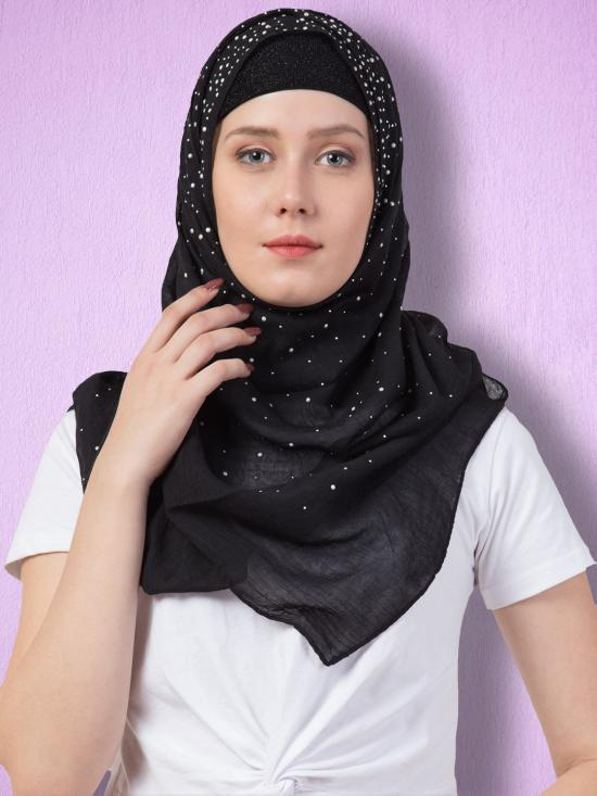 Stole For Women Designer Due Drop Diamond Studed Cotton Hijab In Black