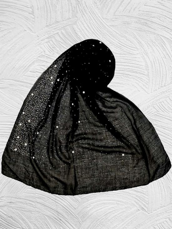 Stole For Women RESTOCKED - BEST SELLER BACK IN STOCK - Premium Cotton Rain Drop Hijab In Black