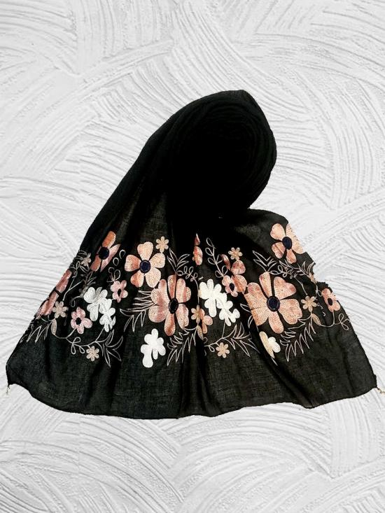 Stole For Women Limited Edition - Emboidered Flower Cotton Stole In Blackish Black