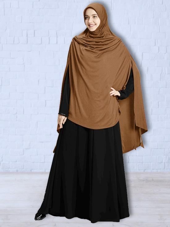 Ulema DD Soft Drip Drop Fabric Khimar In Dark Wheat