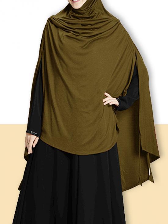 Ulema DD Soft Drip Drop Fabric Khimar In Olive
