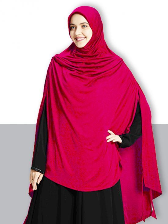 Ulema DD Soft Drip Drop Fabric Khimar In Pink