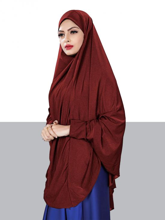 Jersey Chaderi Hijab With Veil And Sleeves In Maroon