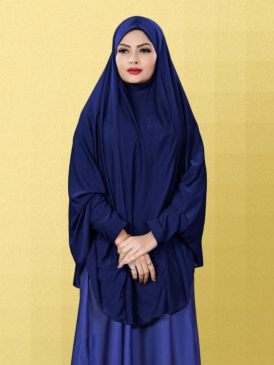 Jersey Chaderi Hijab With Veil And Sleeves In Navy Blue