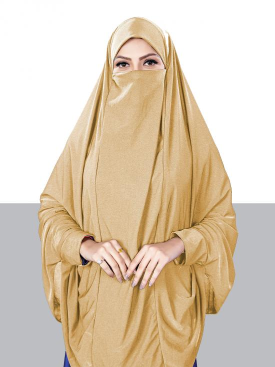 Jersey Chaderi Hijab With Veil And Sleeves In Beige