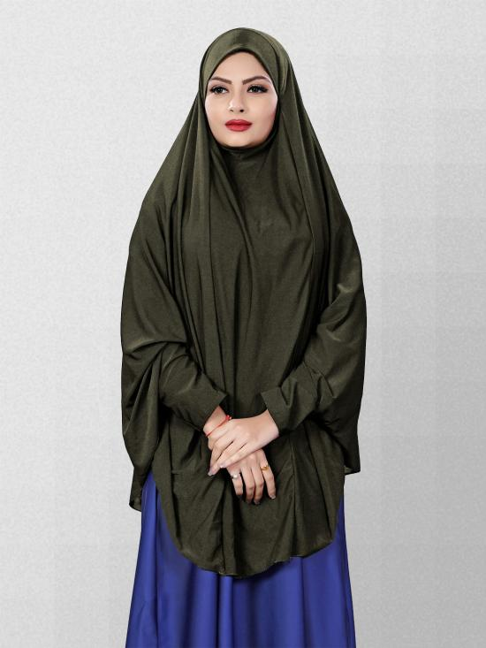 Hosiery Lycra Chaderi Hijab With Veil And Sleeves In Olive