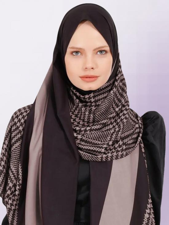 BSY Korean Material Printed Scarf Hijab In Ivory