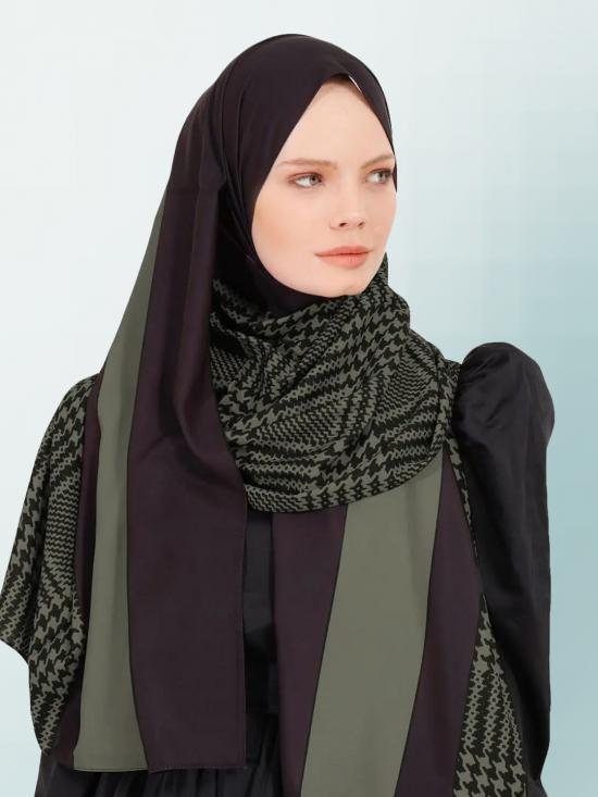 BSY Korean Material Printed Scarf Hijab In Olive
