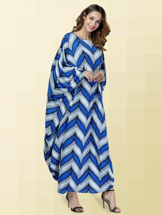 Turkish Moss Fabric Printed Kaftan In Blue