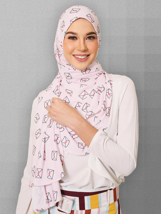 Lycra Chiffon Cap Style Printed Scarf Hijab In Baby Pink