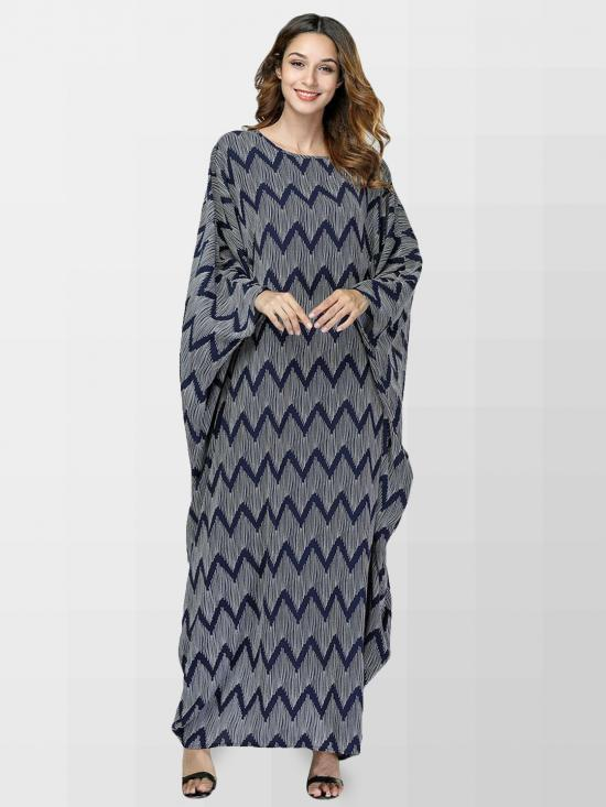 Turkish Moss Fabric Printed Kaftan In Grey