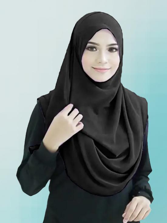 Chiffon Lycra Instant Hijab Scarf In Black