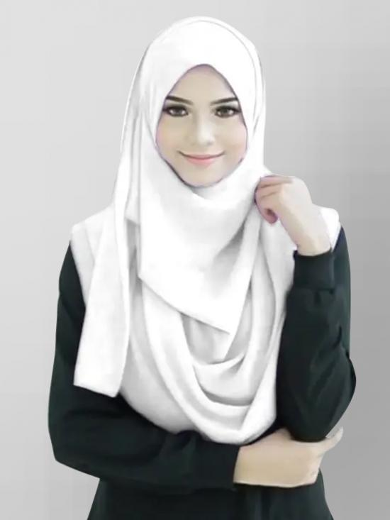 Chiffon Lycra Instant Hijab Scarf In White