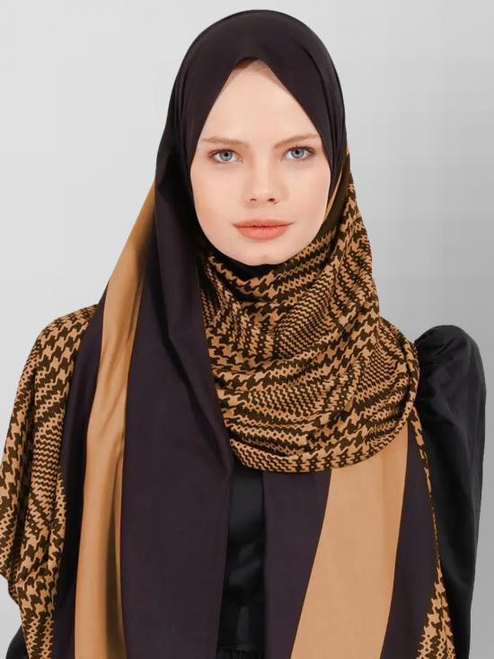 BSY Korean Material Printed Scarf Hijab In Skin Color