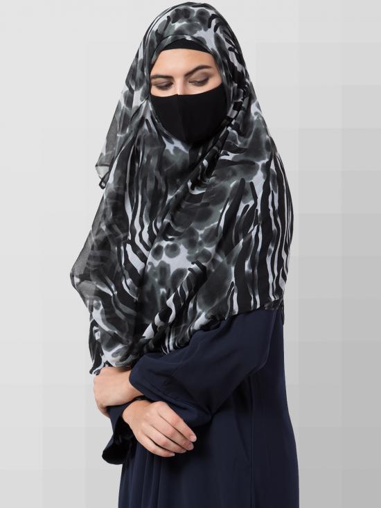 Chiffon Two Loop Instant Hijab In Dark Grey Print