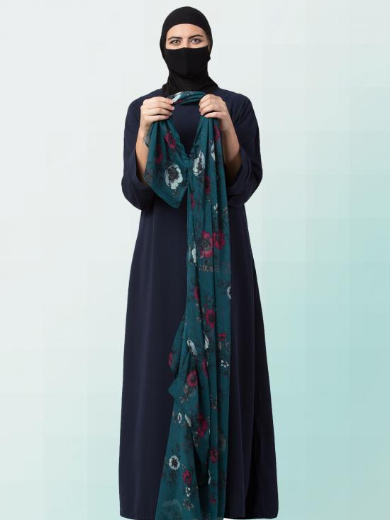 Chiffon Two Loop Instant Hijab In Green Print