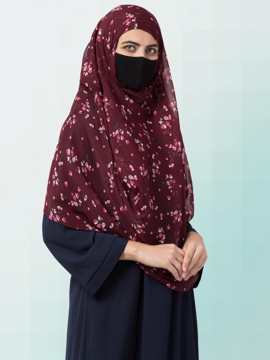 Chiffon Two Loop Instant Hijab In Brown Print