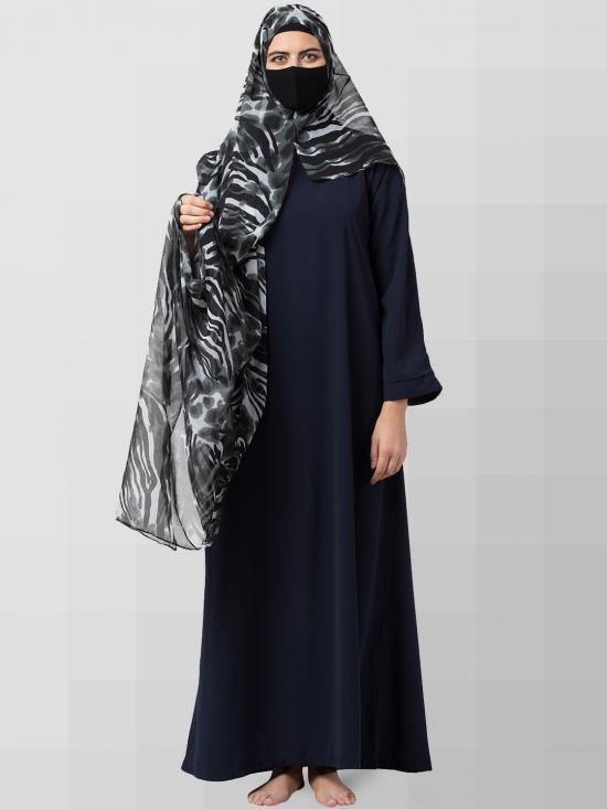Chiffon Two Loop Instant Hijab In Dark Grey Print