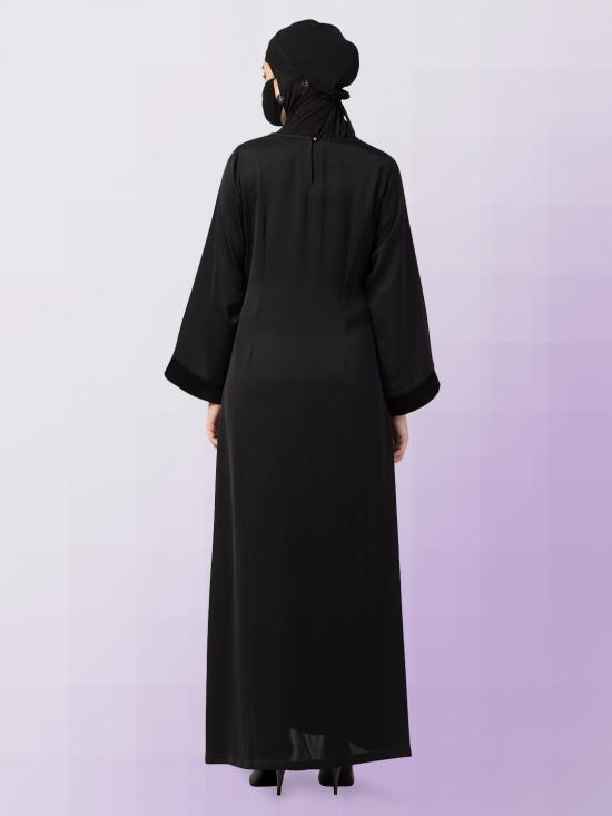 Nida Satin Abaya With Velvet Patches And Show Buttons On Yoke In Black