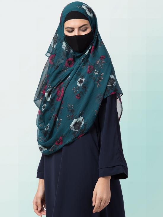Chiffon Two Loop Instant Hijab In Green Print