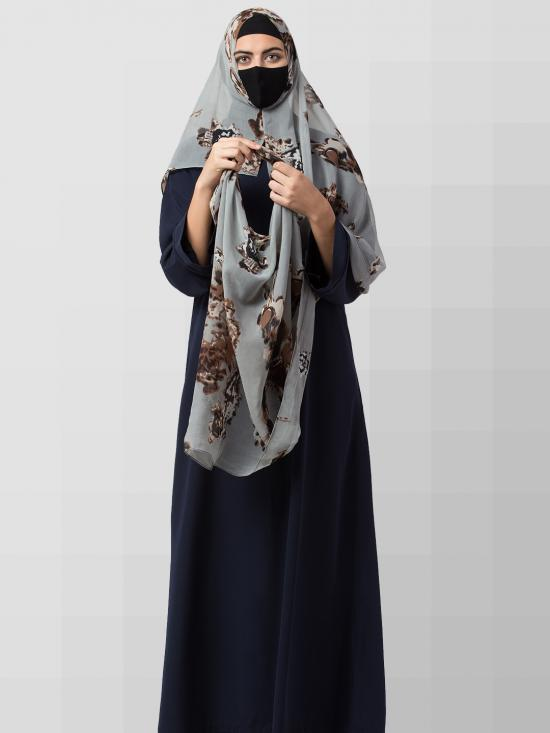 Chiffon Two Loop Instant Hijab In Grey Print