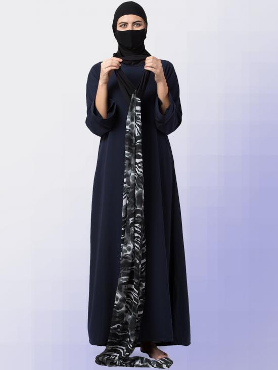 Chiffon Maryam Hijabs In Dark Grey Print