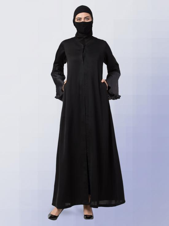Nida Satin Abaya With Bell Sleeves In Black