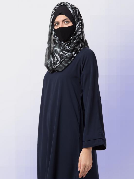 Chiffon Maryam Hijabs In Dark Grey Print