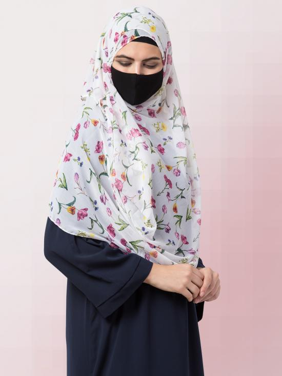 Chiffon Two Loop Instant Hijab In White Print