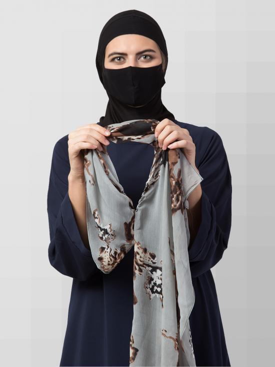 Chiffon Two Loop Instant Hijab In Grey Print